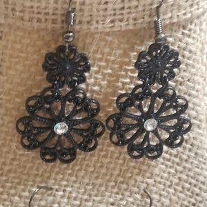 Black Floral Filagree Earrings